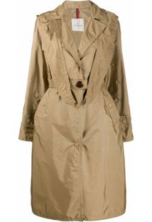 Moncler Trench Coat Com Capuz - Neutro