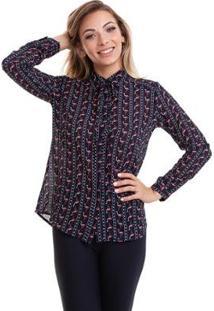 Camisa Kinara Crepe Chiffon - Feminino-Preto