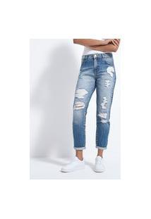 Calça Boyfriend Jeans Lisa Com Puídos E Barra Dobrada   Blue Steel   Azul   36