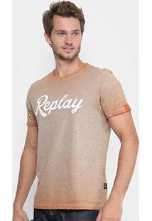 Camiseta Replay Estampada Masculina - Masculino-Laranja