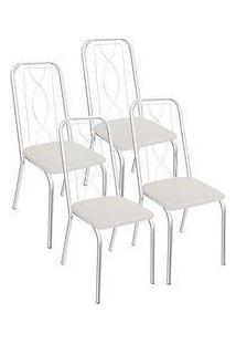 Kit 4 Cadeiras Viena Cromada Kappesberg 4C072 Branco