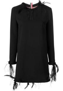 Thom Browne Vestido De Lã Com Aplicações - Preto