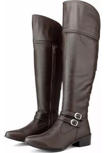 Bota Over The Knee Touro Boots Com Ajuste Marrom - Marrom - Feminino - Dafiti