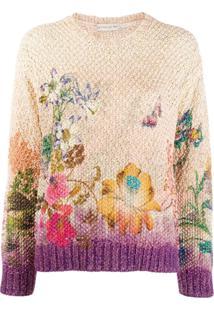 Etro Suéter Com Bordado Floral - Roxo