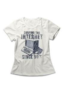 Camiseta Feminina Surfing The Internet Off-White