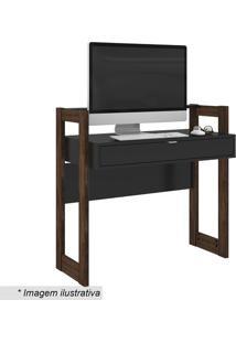 Escrivaninha Com Gavetas- Preta & Nogal- 90,5X95X35,Tecnomobili