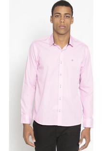 Camisa Slim Fit Texturizada- Rosa Claro- Opthyopthy