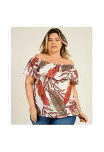 Blusa Plus Size Feminina Ombro A Ombro Folhas Marisa
