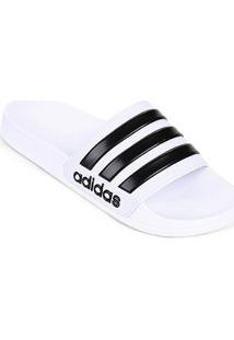 Chinelo Slide Adidas Adilette Cloudfoam Masculino - Masculino-Branco+Preto
