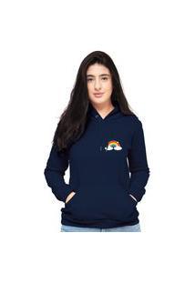 Blusa Moletom Feminino Azul Marinho Arco Íris