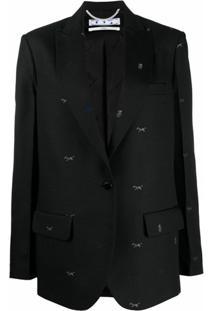 Off-White Blazer Com Bordado E Abotoamento Simples - Preto