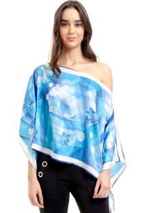 Blusa Estampada 101 Resort Wear Poncho Ombro A Ombro Cetim Azul
