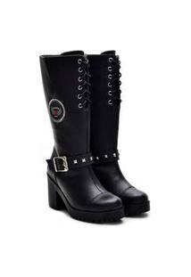 Bota Casual Atron Shoes Couro Feminina Zíper Estilo Leve Preto 33 Preto