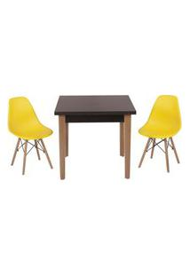 Conjunto Mesa De Jantar Luiza 80Cm Preta Com 2 Cadeiras Eames Eiffel - Amarelo