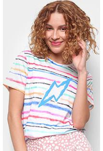 Camiseta Cantão Espectro Manga Curta Feminina - Feminino-Off White