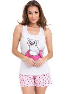 Pijama Short Doll Regata Nadador Feminino Adulto