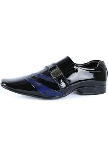 Sapato Social Venetto Preto E Azul Verniz