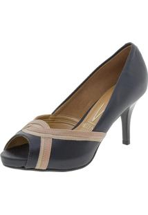 fbd780336 Clóvis Calçados. Peep Toe Com Salto Alto Vizzano Preto Conforto 1781463  Feminino -