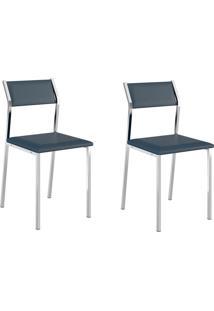 Kit 2 Cadeiras 1709 Azul/Cromado - Carraro Móveis