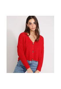 Cardigan Cropped Oversized De Tricô Decote V Vermelho
