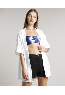 Kimono Feminino Texturizado Com Entremeio Off White