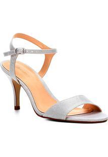 Sandália Shoestock Salto Fino Cetim Feminina - Feminino-Prata