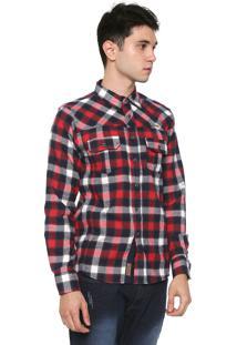 Camisa Gangster Reta Xadrez Azul-Marinho/Vermelha