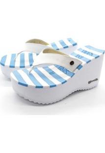 Tamanco Sorvete Barth Shoes Listras - Feminino-Azul+Branco