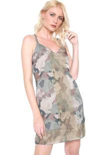 Vestido Lanã§A Perfume Curto Cetim Camuflado Verde - Verde - Feminino - Poliã©Ster - Dafiti