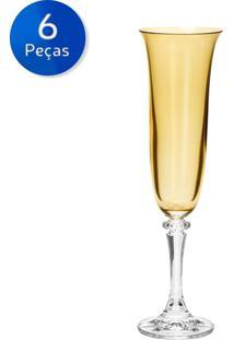 Jogo De Taças Para Champagne 6 Peças 175 Ml Kleopatra - Bohemia - Ambar