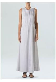 Vestido Longo Striped-Preto / Offwhite