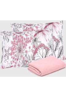 Jogo De Cama Casal Atlântica 3Pçs Delicata Floral Rosa