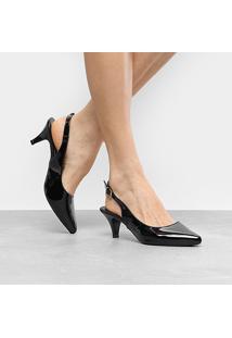 Scarpin Griffe Chanel Salto Fino Baixo - Feminino-Preto