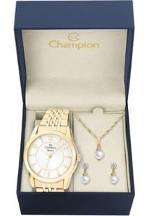 Kit Relógio Champion Elegance Feminino Com Colar E Brincos - Feminino-Dourado