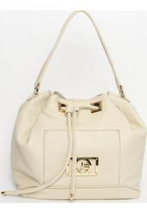 Bolsa Saco Em Couro Com Bolso- Off White- 31X50X16Cmjorge Bischoff