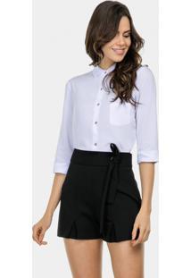 Camisa Mangas 3/4 Em Tecido Branco - Lez A Lez