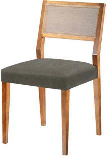 Cadeira Caiscais Assento Cor Cinza Com Base Nogal - 46489 - Sun House