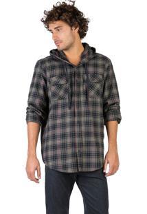 Camisa Flanelada Xadrez Com Capuz Preto / Cinza