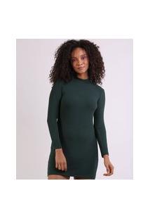 Vestido Feminino Curto Canelado Manga Longa Gola Alta Verde Escuro