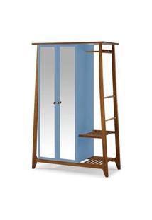 Armario Multiuso Stoka 2 Portas Azul Claro Estrutura Amendoa 169Cm - 60976 Azul