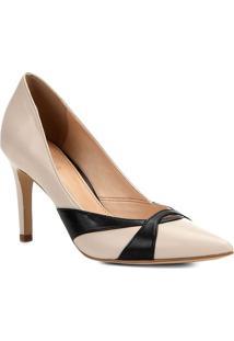 Scarpin Em Couro Com Recortes- Nude & Preto- Salto: Shoestock