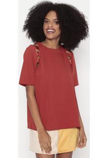 Blusa Com Tiras & Recortes Vazados - Vermelha - Woolwool Line