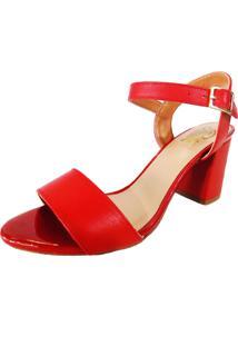 Sandália Prata Couro 1009410 Vermelha