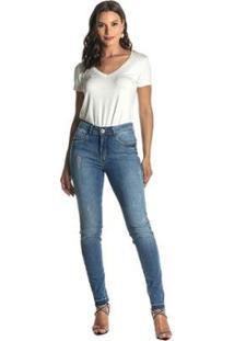 Calça Jeans Denuncia Mid Rise Skinny 201324197 Azul - Azul - 34 - Feminino