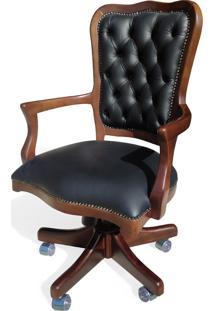 Cadeira Com Braço Giratória Inglesa Ajuste De Altura E Relax Design De Luxo