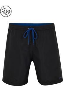 Shorts Plus Size Com Friso Microfibra Preto