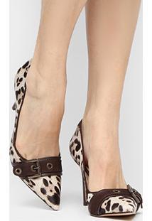 Scarpin Couro Shoestock Salto Alto Fivela Ilhoses Pelo - Feminino-Onça