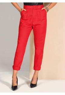 Calça Vermelha Reta Com Cintura Alta E Cinto