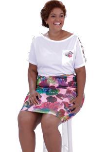 Blusa Evan Broche Plus Size Vickttoria Vick Plus Size Branco