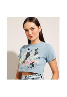 """Camiseta Cropped """"Juliette"""" De Algodão """"Teu Cantar"""" Flocada Manga Curta Decote Redondo Azul"""